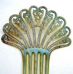 Art Deco hair comb Spanish rhinestone comb hair by ElrondsEmporium