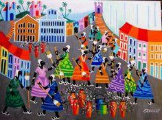AECIO TEMA LAVAGEM DAS ESCADARIAS DO BONFIM A VENDA COM AJUR SP (Painting), 50x70 cm por Arte Naif AJUR SP VENDEDOR E DIVULGADOR DA ARTE NAIF BRASILEIRA