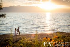 Picture your gorgeous wedding at Edgewood in South Lake Tahoe! Sunset on the lakefront is not to be missed.  Choose South Lake Tahoe for your perfect destination wedding, any time of year. #destinationwedding #beachwedding www.tahoeweddingsites.com