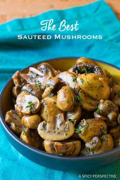Crazy Good! The BEST Sautéed Mushroom Recipe for topping steaks or risotto on ASpicyPerspective.com
