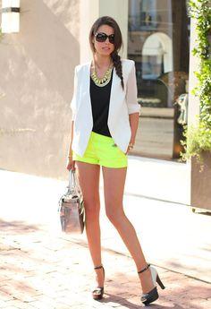 Neon shorts | white blazer | neon heels