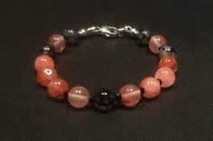 Bracelet of Pink Tourmaline Dragon's Vein Agate by CatchyTreasures