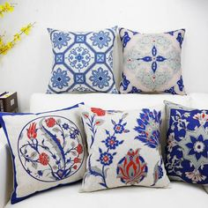 Chinese style blue and white throw pillow for sofa decor flower geometric square cushions