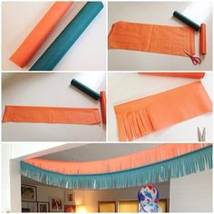 Here's a fun DIY for a party! Using these paper tablecloth rolls $4.00 // the steps: 1. Cut the length desired for your fringe 2. Fold it in half 3. Cut strips, but stop before you get to the edge 4. Unfold and hang! // #targetdoesitagain