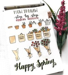Learn How to Draw Cute Doodles like These Spring Icons. Lots of Step-By-Step Drawings for you to practice and Add to your Bujo