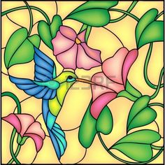 stained glass window : Floral composition with tropical flowers and flying humming bird colibri, vector illustration Stained Glass Paint, Stained Glass Flowers, Stained Glass Designs, Stained Glass Panels, Stained Glass Projects, Stained Glass Patterns, Mosaic Glass, Glass Art, Vector Flowers