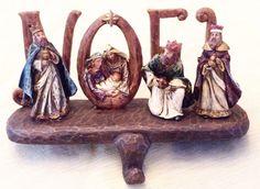 Holy Family Nativity Scene Christmas Stocking Holder