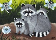 ACEO Print Raccoon Fairy Flower Baby Wildlife | eBay