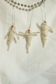 Spun Cotton Vintage Style Mini Halloween Ghost Ornaments