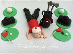 edible golf cake and cupcake topper set by sweetpinkbyarlene