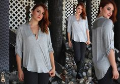OH SO COMFY top in grey... high low!! So cute with your boots!