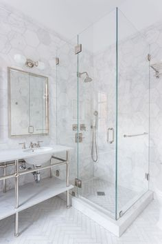 Hexagon Marble Tile Shower with Silver