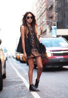 Free People dress, BCBGMax Azria vest, ModernVice x Natalie Suarez boots, Céline bag