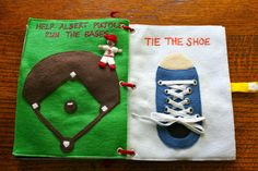 Baseball diamond page (you move the player to the different bases) and tie-the-shoelace page
