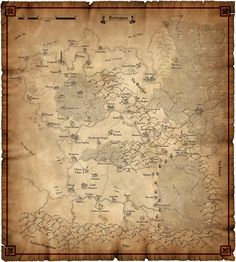 Warhammer Map - He has a map this beige color, but it's a whole empire map, not just bretonnia. I can't find an exact image, but again, frame it for wall