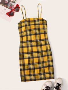 Zip Back Tartan Cami Dress Check out this Zip Back Tartan Cami Dress on Shein and explore more to meet your fashion needs! Teen Fashion Outfits, Outfits For Teens, Girl Outfits, Trendy Fashion, Fashion Dresses, Cute Lazy Outfits, Trendy Outfits, Look Girl, Spaghetti Strap Dresses