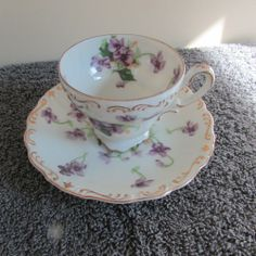 NikoNiko  China  Demitasse Cup & Saucer  Violets Made in Japan