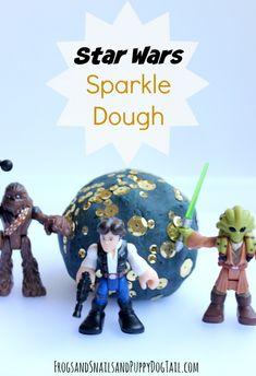 Star Wars Sparkle Dough Recipe. Sensory play for kids on FSPDT