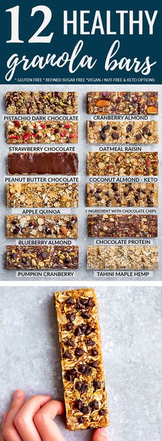 Healthy Homemade Granola Bars - 12 Ways - perfect healthy on-the go snacks for . - Healthy Homemade Granola Bars – 12 Ways – perfect healthy on-the go snacks for back-to-school - Healthy Granola Bars, Healthy Bars, No Bake Granola Bars, Granola Bar Recipes, Best Granola Bars, Healthy Homemade Granola Bars, Low Carb Granola Bars Recipe, Keto Granola, Peanut Butter Granola