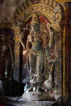Hindu goddess statue, Brihadeshwara Temple, Thanjavur, Tamil Nadu, India…