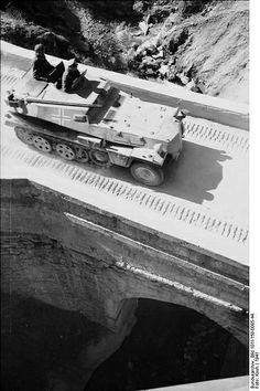 SdKfz. 253 artillery observer vehicle while crossing a bridge in Balkan