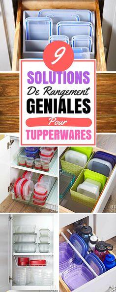 Voici 9 SOLUTIONS DE RANGEMENT GÉNIALES POUR VOS TUPPERWARES #rangement #organisation #tupperwares #maison #idéesinterieur #ranger
