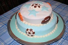 Sports themed Baby Shower or Birthday Cake!  soccer, football, and basketball