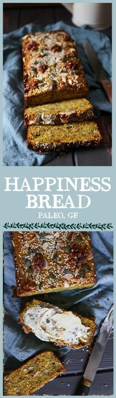 Happiness Bread is a soft savoury gluten-free and paleo bread packed with sweet potato nuts seeds coconut and turmeric. Perfect for kick-starting your day nay your year. Paleo Bread, Paleo Baking, Gluten Free Baking, Baking Recipes, Whole Food Recipes, Paleo Diet, Paleo Pizza, Sem Gluten Sem Lactose, Grain Free Bread
