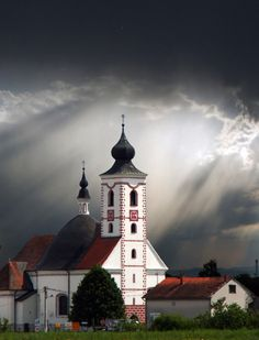 Vukovina, Croatia - Love the stormy looking sky as the back drop to this lovely church? Mosque?