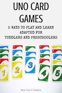 5 Learning Ideas with UNO Cards Adapted for Toddlers and Preschoolers - color and number recognition, promoting social skills #toddleractivities #preschoolactivities #earlymath #mathideas #counting #besttoys4tots #stem #playideas #cardgames Learning Games For Preschoolers, Toddler Learning Activities, Learning Time, Learning Colors, Toddler Preschool, Math Activities, Preschool Activities, Parenting Toddlers, Learning Numbers Preschool