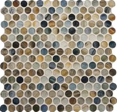 Stone & Pewter Accents Penny Round Recycled Glass Tiles - Sumi-e Kukai Silk