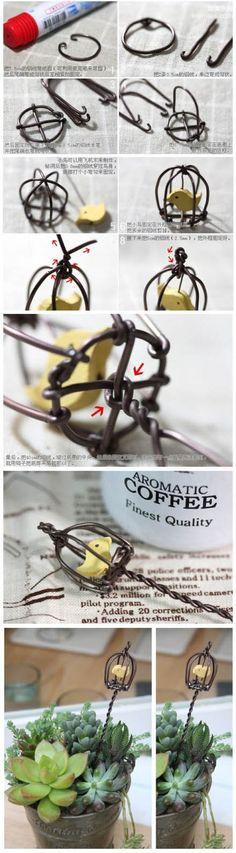 简单铁艺手工制作教程 可爱的装饰小鸟笼