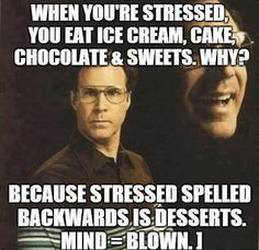 Desserts---Most women eat sweets when they're stressed.This is funny but it actually contradicts the reason for eating sweets in the first place. In some cases women who are trying to stick to a diet or loose weight see desserts as stressful things. When confronted with that reese cup milkshake from cookout, only eat a few bites then put it away. It isn't as stressful when you take small quantities at a time. Handle stressful things little by little. Don't try to take it on all at once.