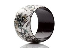 Floral Jewelry Black and White Wooden bangle bracelet decoupage collage mixed media fashion by HandmadeDecoupage on Etsy, €18.54
