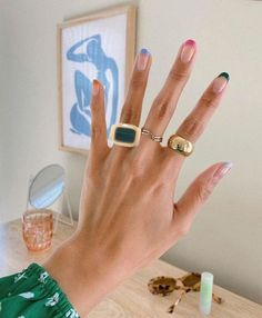 Nail Design Stiletto, Nail Design Glitter, Hair And Nails, My Nails, Minimalist Nails, Cute Rings, Cute Jewelry, Gold Jewelry, Jewellery