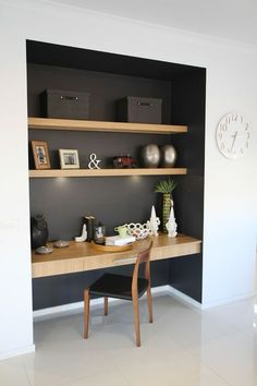 Study nook somewhere in main living zone, like the contrast dark colour and wood… – Modern Home Office Design Desk Nook, Office Nook, Study Office, Bookshelf Desk, Corner Desk, Alcove Desk, Book Shelves, Small Office, Computer Nook
