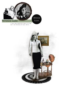 """Veronica Lake"" by chomiczynka ❤ liked on Polyvore featuring art"