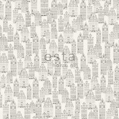 ESTAhome.nl - maak je huis gezellig! Vliesbehang Amsterdamse huizen zwart en wit behang, fotobehang, gordijnstof en dekbedovertrekken