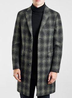 Harris Tweed Green And Charcoal 100% Wool Check Coat