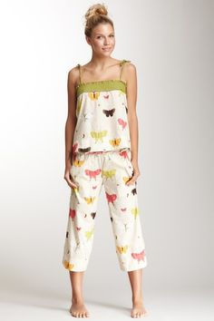 Munki Munki Voile Flutter Tank & Pant Pajama Set by Permission To Lounge on @HauteLook