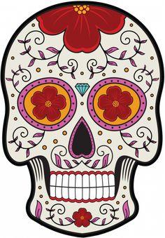 Mexican Sugar Skull Self Adhesive Vinyl Sticker Sugar Skull Tattoos, Sugar Skull Art, Sugar Skulls, Crane, Day Of The Dead Skull, Cat Stickers, Skull And Crossbones, Cute Art, Painted Rocks