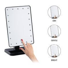 Tri Fold Vanity Mirror With Lights Leshp Portable 8 Led Lighted Makeup Mirror 3Folder Mirror Compact