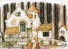 Anton Pieck ,Hans En Grietje - Efteling Kaatsheuvel - Not Used ( Scans For Condition. Anton Pieck, Classic Fairy Tales, House Illustration, Fairytale Art, Dutch Painters, 3d Prints, Dutch Artists, Illustrators, Drawings