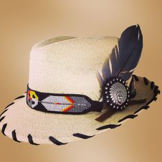 Palm Fedora with black beaded hatband with grey dove feather/leather indian Concho - Red Star Riggings