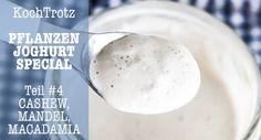 Mandel-Joghurt, Cashew-Joghurt, Macadamia-Joghurt - vegane Alternativen zu Sojajoghurt - fermentiert mit Brottrunk -glutenfrei