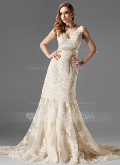 Trumpet/Mermaid V-neck Chapel Train Organza Satin Wedding Dress With Lace Beading (002000249) - JJsHouse