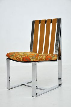 Milo Baughman; Chromed Steel and Leather Upholstered Side Chair for Thayer-Coggin, 1970s.