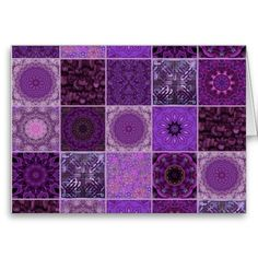 Purple Crazy Quilt Card
