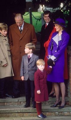 ♔Brothers♔Prince Harry♔Prince William...1989-12-25 Diana, Charles, William and Harry attend Christmas Day Service in Sandringham with members of the Royal Family