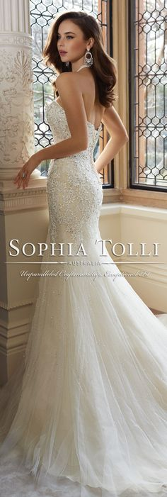The Sophia Tolli Spring 2016 Wedding Dress Collection - Style No. Y11625 - Amira #laceweddingdress